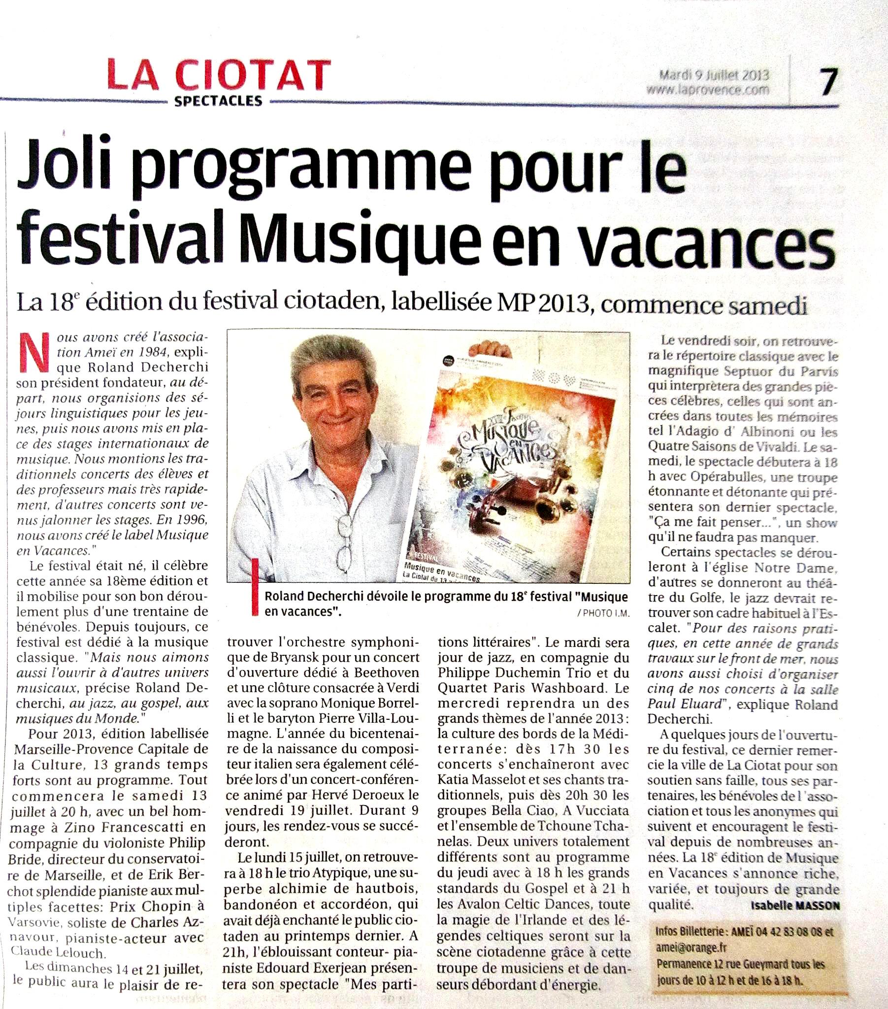 La Provence 9 juillet 2013
